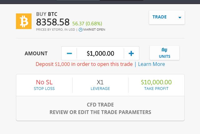 Buy eToro Bitcoin CFD