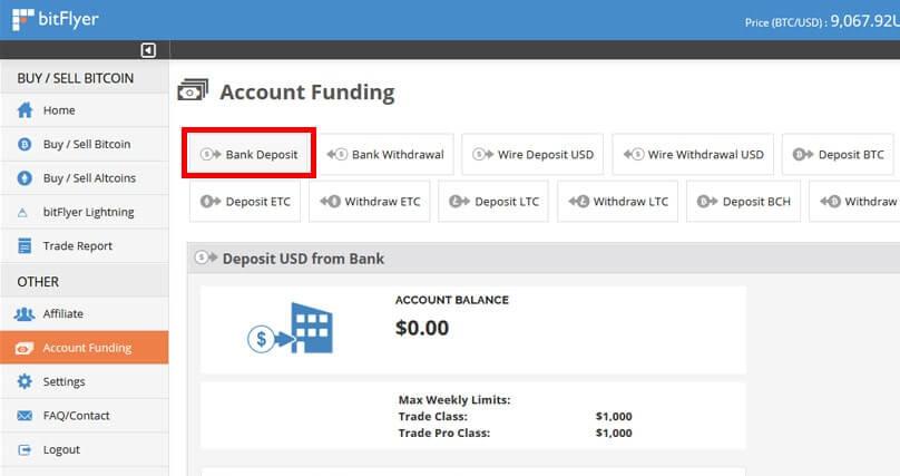 Deposit at BitFlyer
