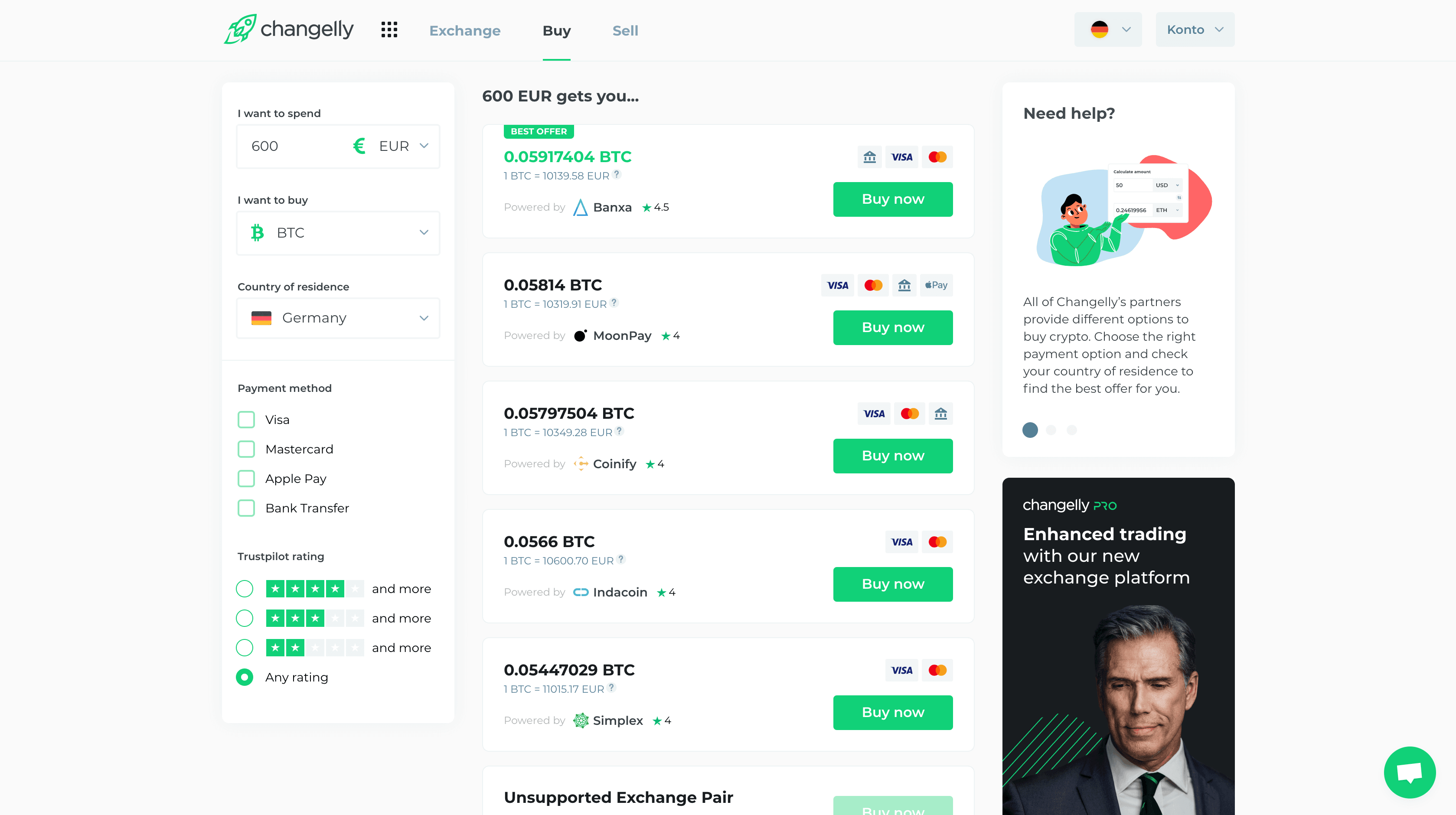 Deposit with Changelly