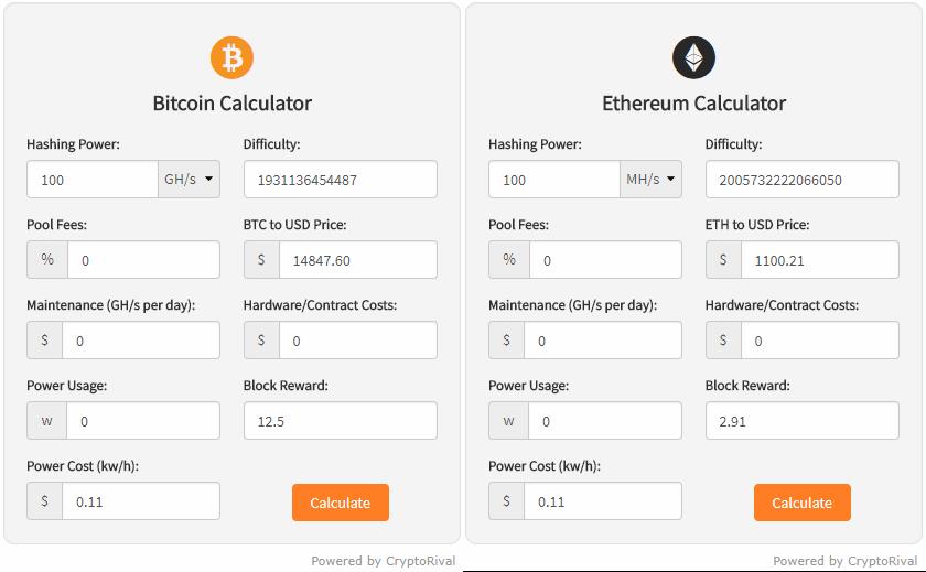 Ether Mining Calculator
